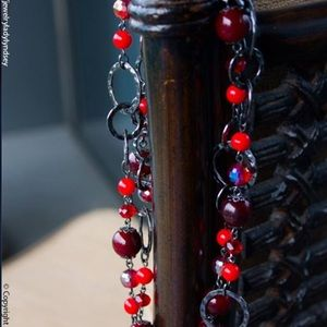 Premier Designs Red and Slate gray necklace
